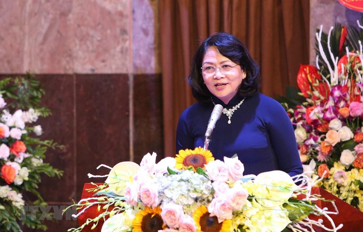 Phó Chủ tịch nước Đặng Thị Ngọc Thịnh phát biểu chào mừng. (Ảnh: Dương Giang/TTXVN)