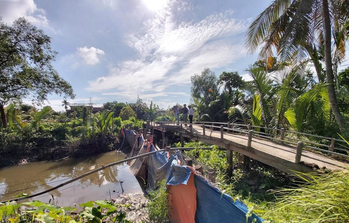 Các đập tạm đã cung cấp nguồn nước ngọt cho gần 1/3 diện tích vườn cây ăn trái, cây giống của huyện Chợ Lách. (Ảnh: Trần Thị Thu Hiền/TTXVN)