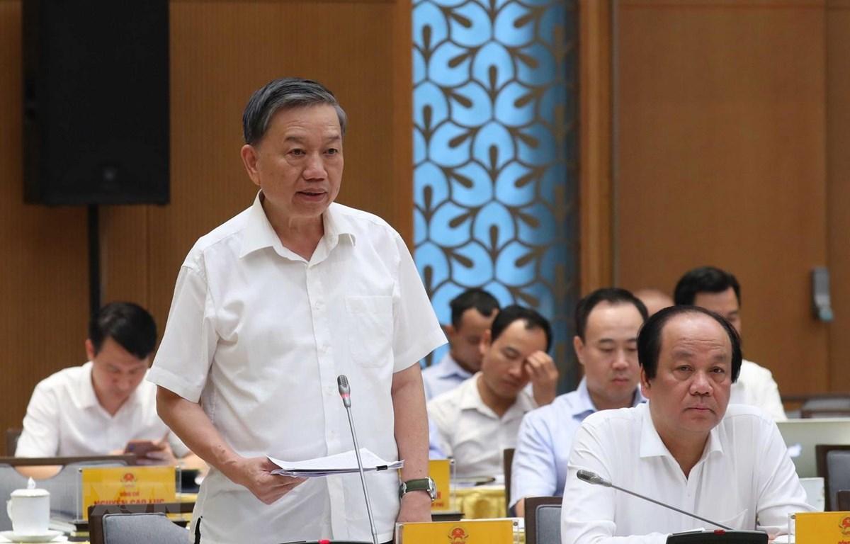 Bộ trưởng Bộ Công an Tô Lâm phát biểu. (Ảnh: Thống Nhất/TTXVN)
