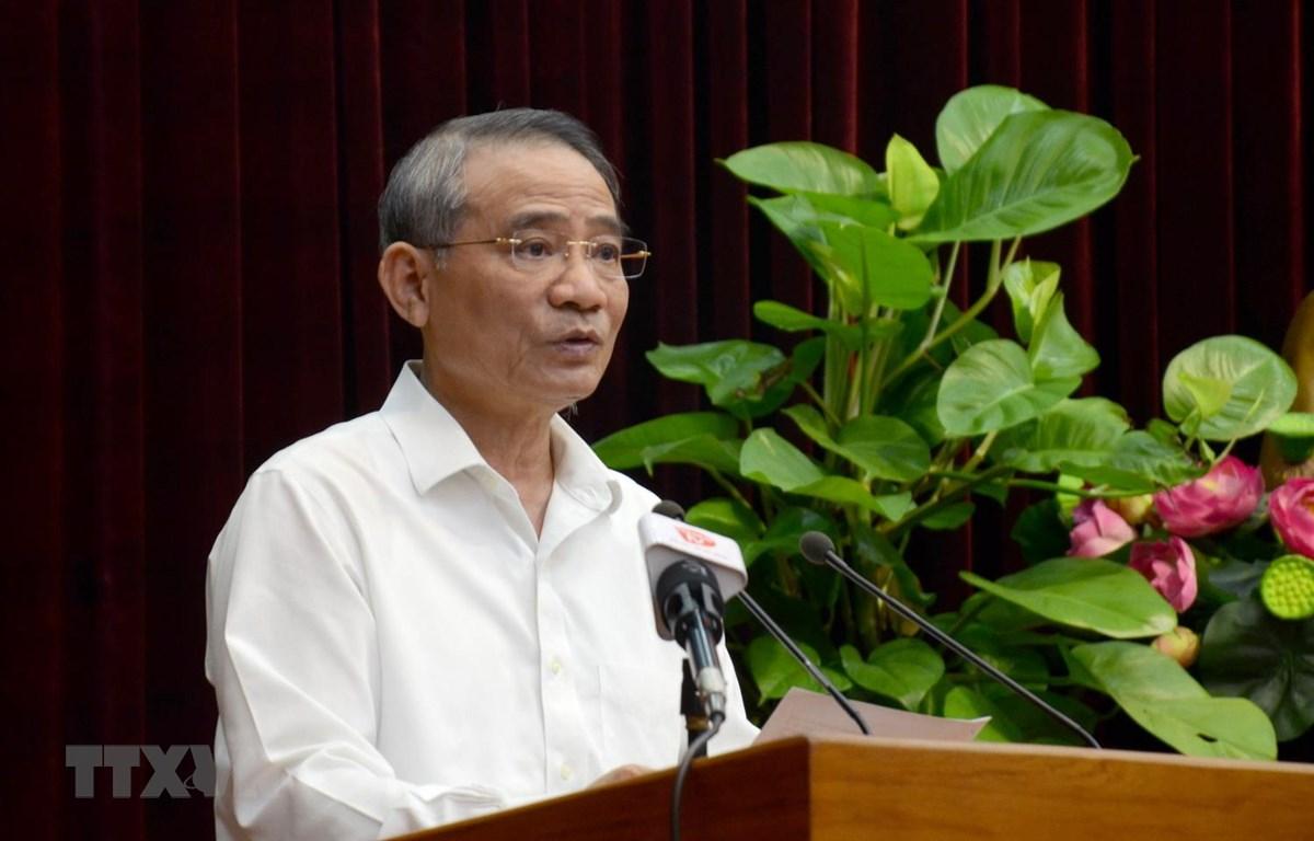 Bí thư Thành ủy Đà Nẵng Trương Quang Nghĩa phát biểu chỉ đạo Hội nghị. (Ảnh: Quốc Dũng/TTXVN)