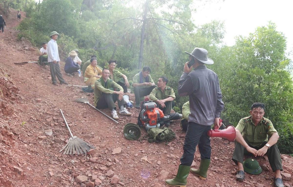 Cháy rừng tại xã Diễn Lộc, huyện Diễn Châu. (Ảnh: Nguyễn Oanh/TTXVN)