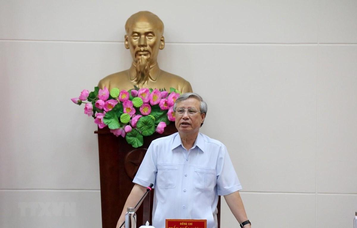 Đồng chí Trần Quốc Vượng, Ủy viên Bộ Chính trị, Thường trực Ban Bí thư phát biểu tại buổi làm việc. (Ảnh: Nguyễn Thanh/TTXVN)