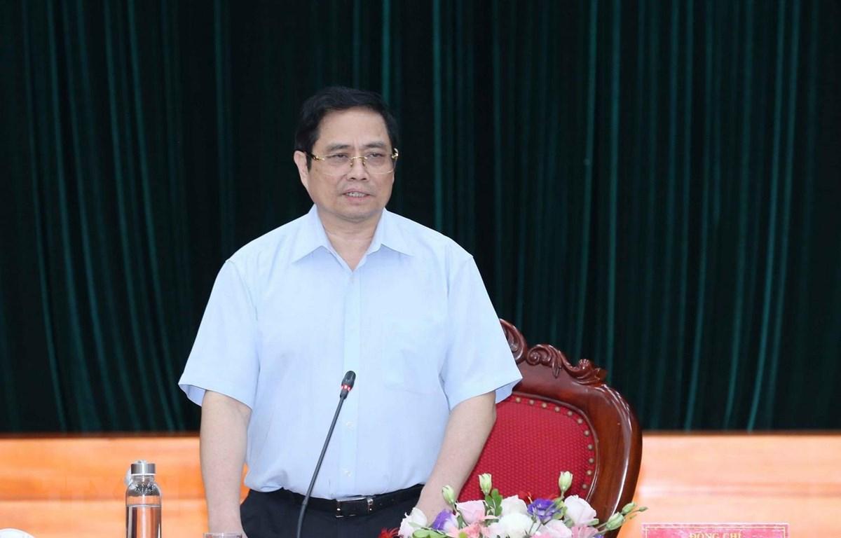 Ông Phạm Minh Chính, Ủy viên Bộ Chính trị, Bí thư Trung ương Đảng, Trưởng Ban Tổ chức Trung ương, Trưởng đoàn phát biểu kết luận buổi làm việc. (Ảnh: Phương Hoa/TTXVN)