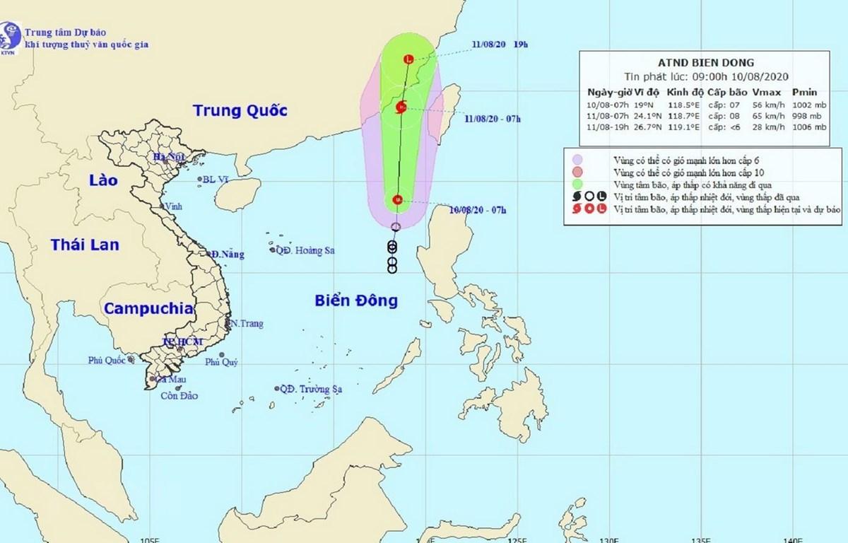 Bản đồ đường đi của áp thấp nhiệt đới trên Biển Đông. (Ảnh: TTXVN phát)