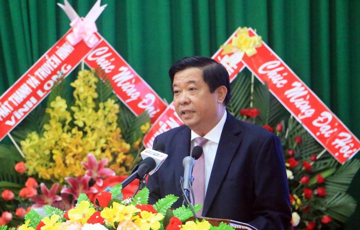 Phó Bí thư Thường trực Tỉnh ủy Vĩnh Long Bùi Văn Nghiêm phát biểu chỉ đạo Đại hội. (Ảnh: Phạm Minh Tuấn/TTXVN)