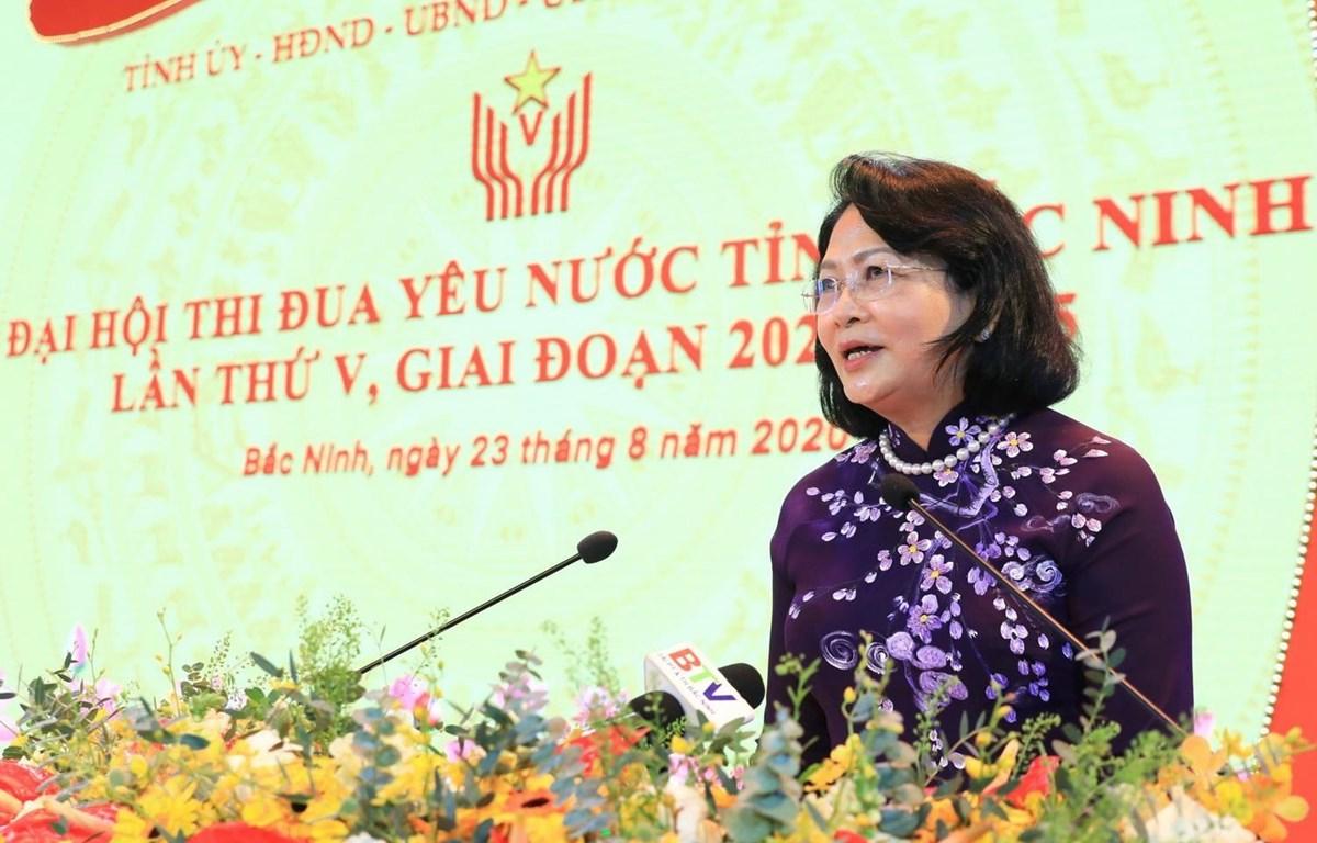 Phó Chủ tịch nước Đặng Thị Ngọc Thịnh phát biểu chỉ đạo Đại hội. (Ảnh: Thành Đạt/TTXVN)