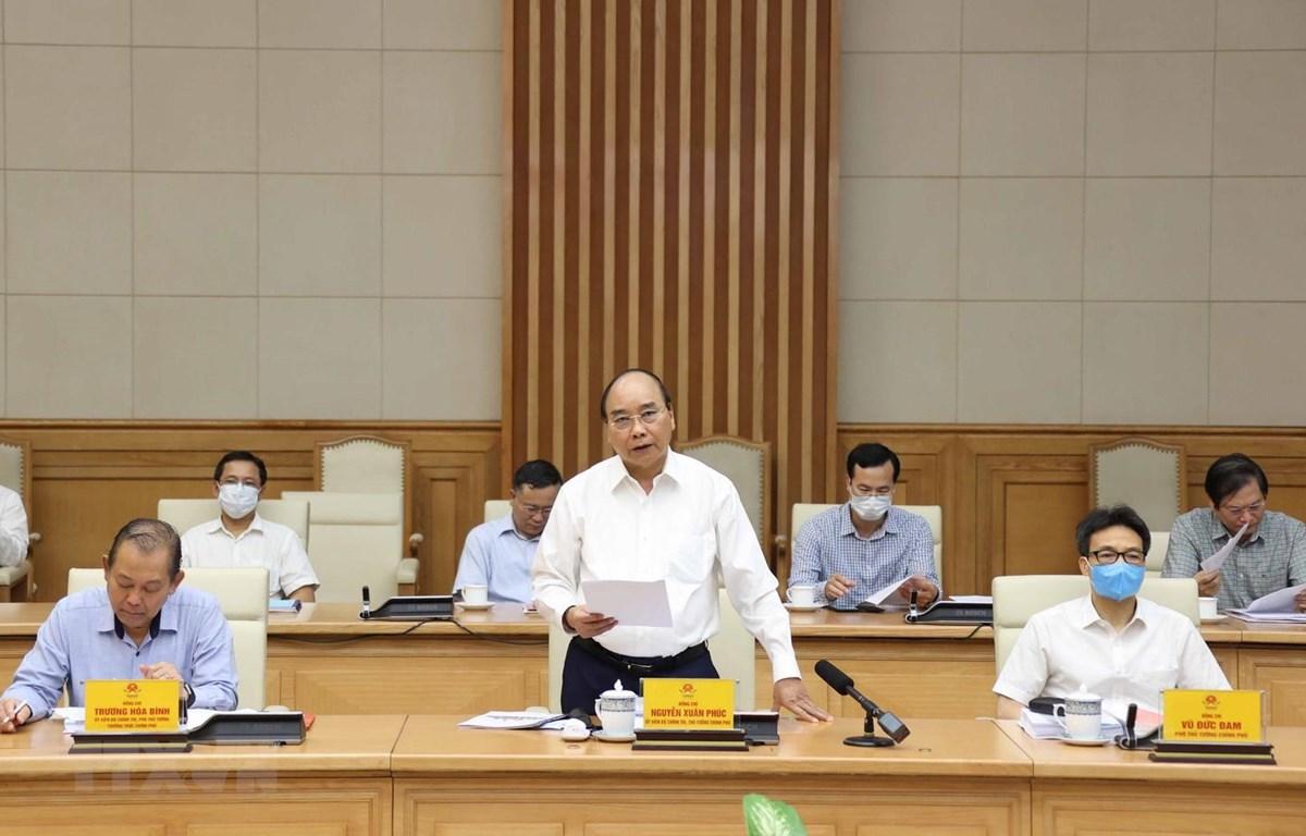 Thủ tướng Nguyễn Xuân Phúc phát biểu tại buổi làm việc. (Ảnh: Thống Nhất/TTXVN)