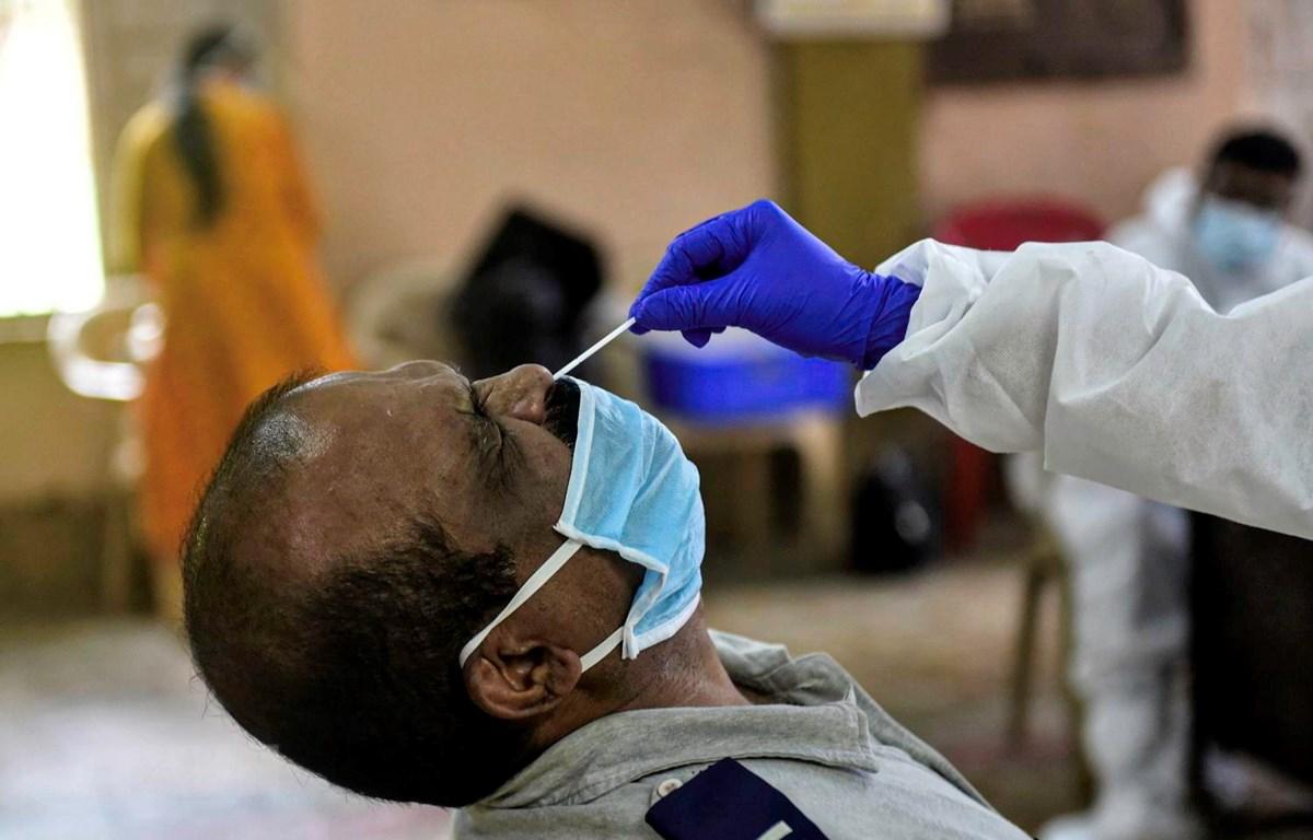 Nhân viên y tế lấy mẫu dịch xét nghiệm COVID-19 cho người dân tại Mumbai, Ấn Độ, ngày 12/9 vừa qua. (Ảnh: THX/TTXVN)