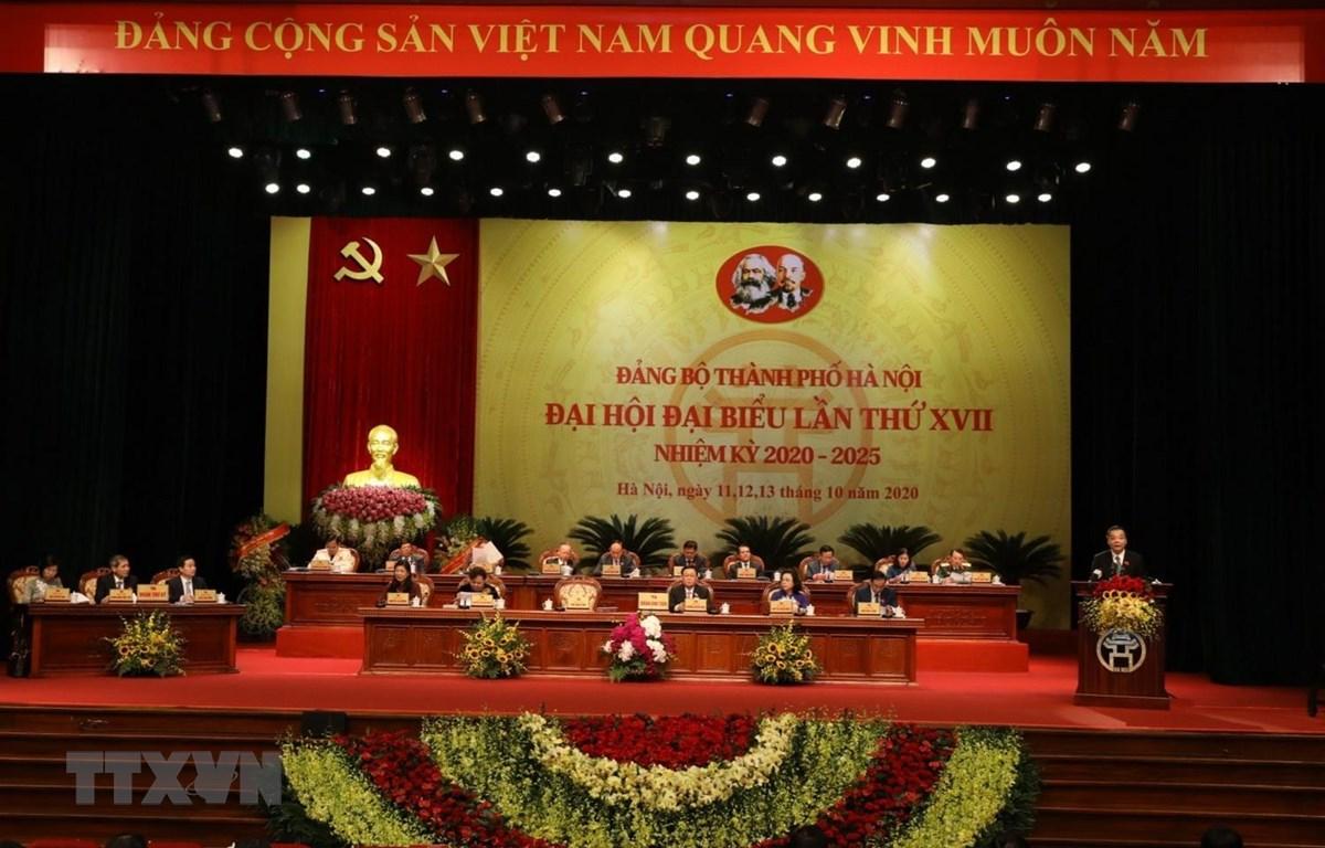 Toàn cảnh Đại hội đại biểu Đảng bộ thành phố Hà Nội, lần thứ XVII, nhiệm kỳ 2020-2025. (Ảnh: Văn Điệp/TTXVN)