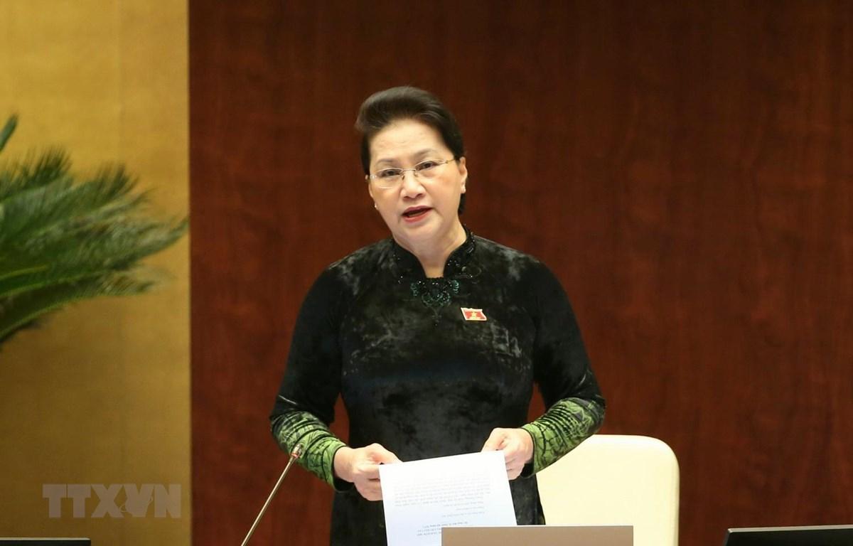 Chủ tịch Quốc hội Nguyễn Thị Kim Ngân điều hành phiên chất vấn và trả lời chất vấn. (Ảnh: Doãn Tấn/TTXVN)