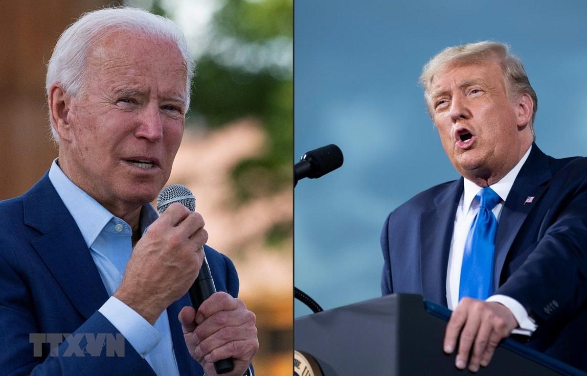 Tổng thống Mỹ đương nhiệm Donald Trump (phải) trong chiến dịch tranh cử ở Jacksonville, Florida ngày 24/9 vừa qua và ứng viên đảng Dân chủ Joe Biden phát biểu tại một sự kiện ở Charlotte, North Carolina ngày 25/9. (Ảnh: AFP/TTXVN)
