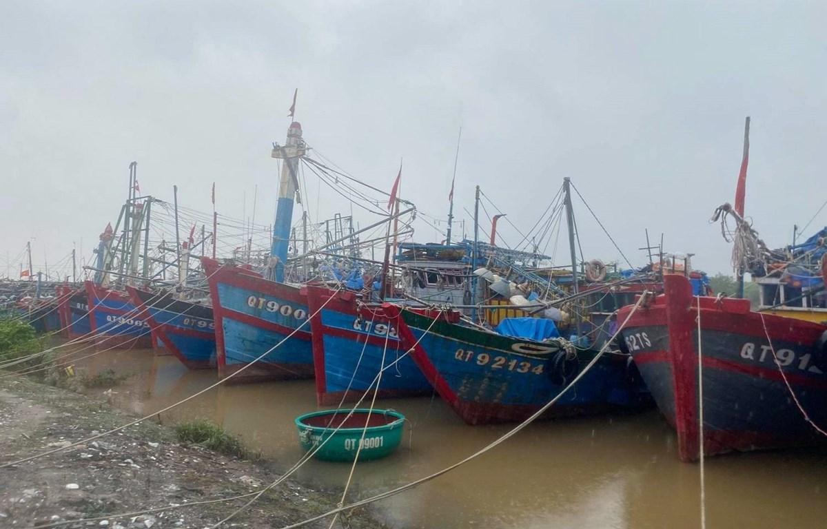 Tàu thuyền neo đậu an toàn tại Khu neo đậu tàu thuyền ở Thị trấn Cửa Việt,tỉnh Quảng Trị. (Ảnh: Thanh Thủy/TTXVN)