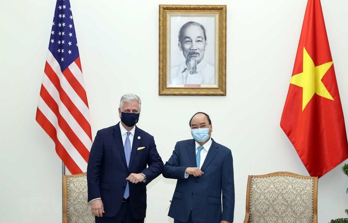 Thủ tướng Nguyễn Xuân Phúc tiếp Robert O'Brien, Cố vấn An ninh Quốc gia Hoa Kỳ. (Ảnh: Thống Nhất/TTXVN)