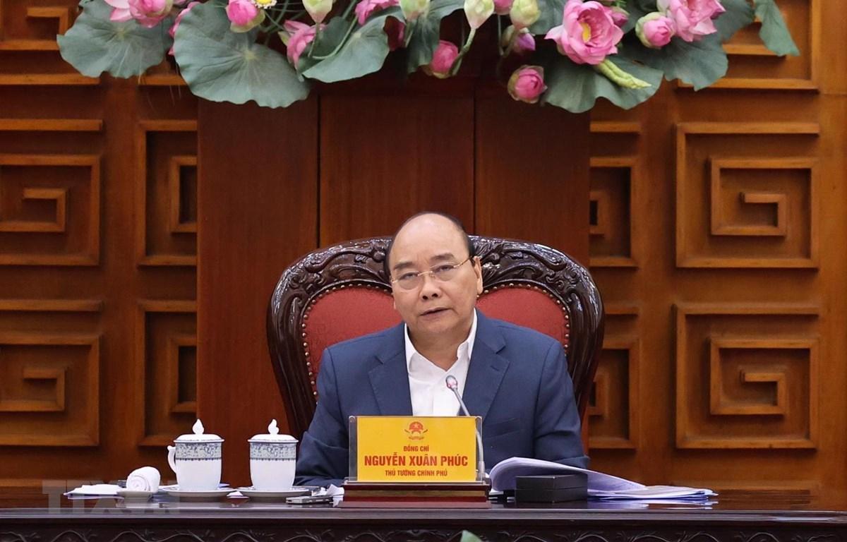 Thủ tướng Nguyễn Xuân Phúc chủ trì phiên họp. (Ảnh: Thống Nhất/TTXVN)