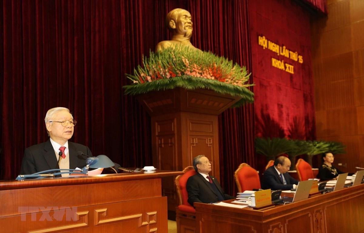 Tổng Bí thư, Chủ tịch nước Nguyễn Phú Trọng chủ trì Hội nghị. (Ảnh: Trí Dũng/TTXVN)