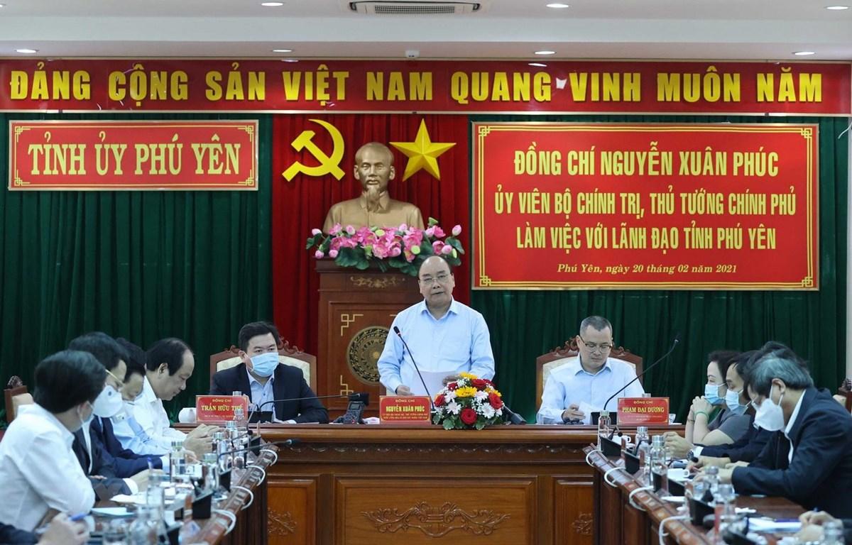 Thủ tướng Nguyễn Xuân Phúc phát biểu kết luận tại buổi làm việc. (Ảnh: Thống Nhất/TTXVN)