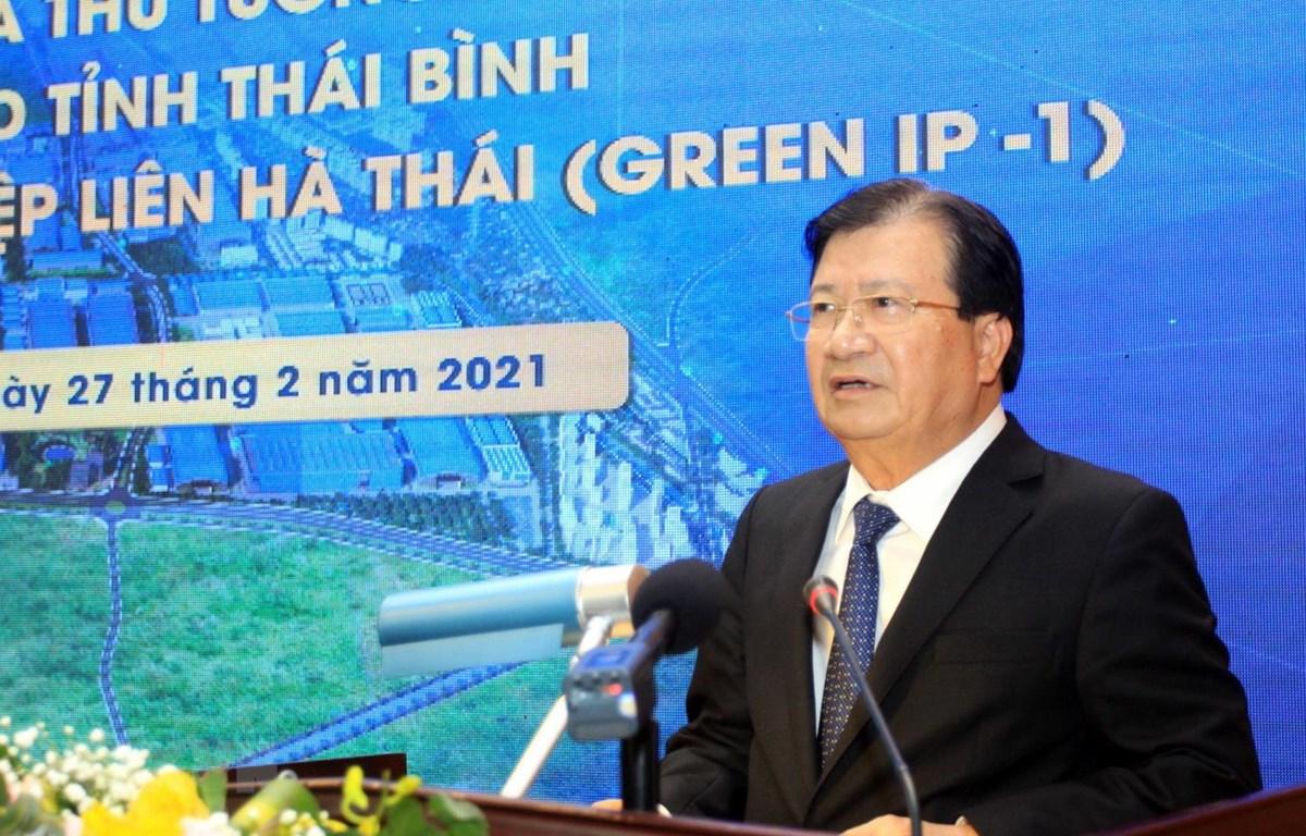 Phó Thủ tướng Trịnh Đình Dũng phát biểu tại hội nghị. (Ảnh: Thế Duyệt/TTXVN)