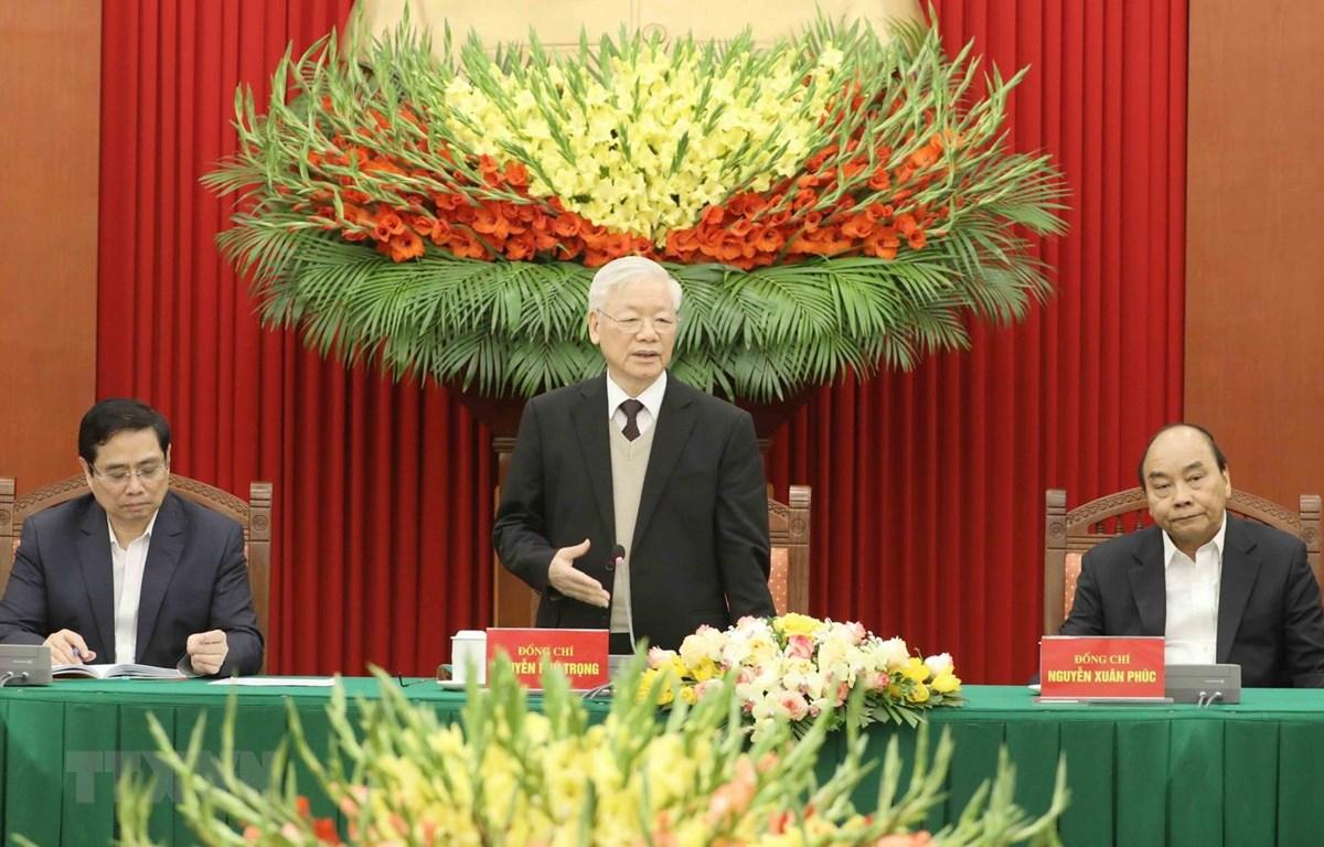 Tổng Bí thư, Chủ tịch nước Nguyễn Phú Trọng phát biểu tại buổi gặp mặt. (Ảnh: Phương Hoa/TTXVN)