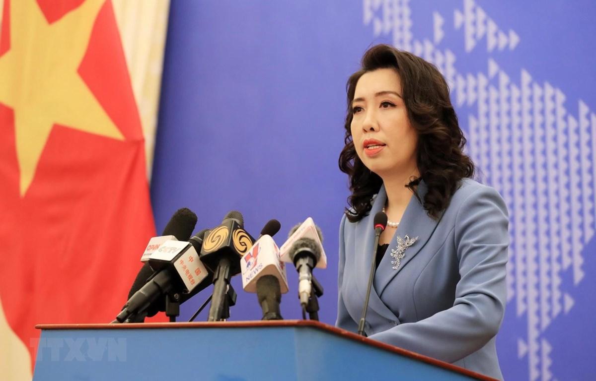 Người phát ngôn Bộ Ngoại giao Lê Thị Thu Hằng thông báo một số hoạt động đối ngoại của Việt Nam trong tháng Ba. (Ảnh: TTXVN)