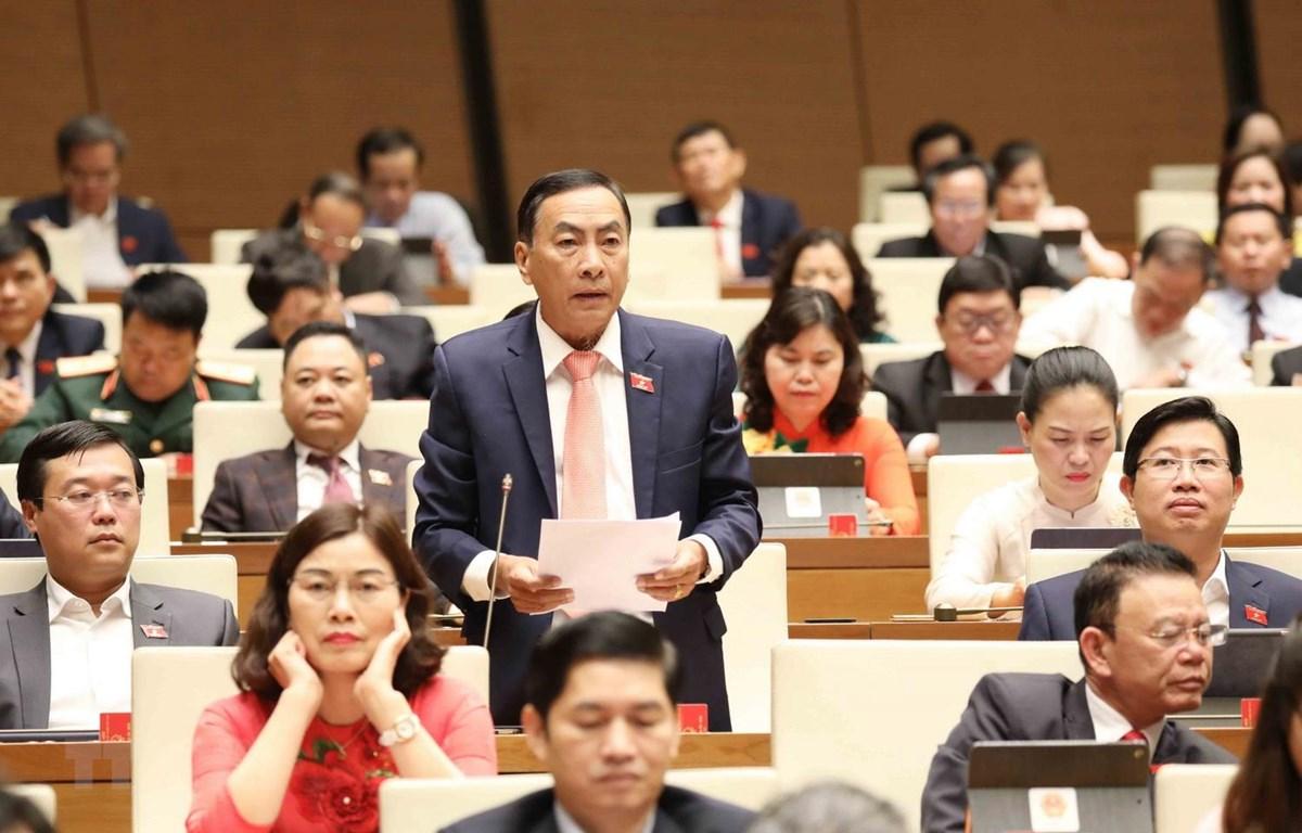 Đại biểu Quốc hội tỉnh Đồng Tháp Phạm Văn Hoà phát biểu. (Ảnh: Phương Hoa/TTXVN)