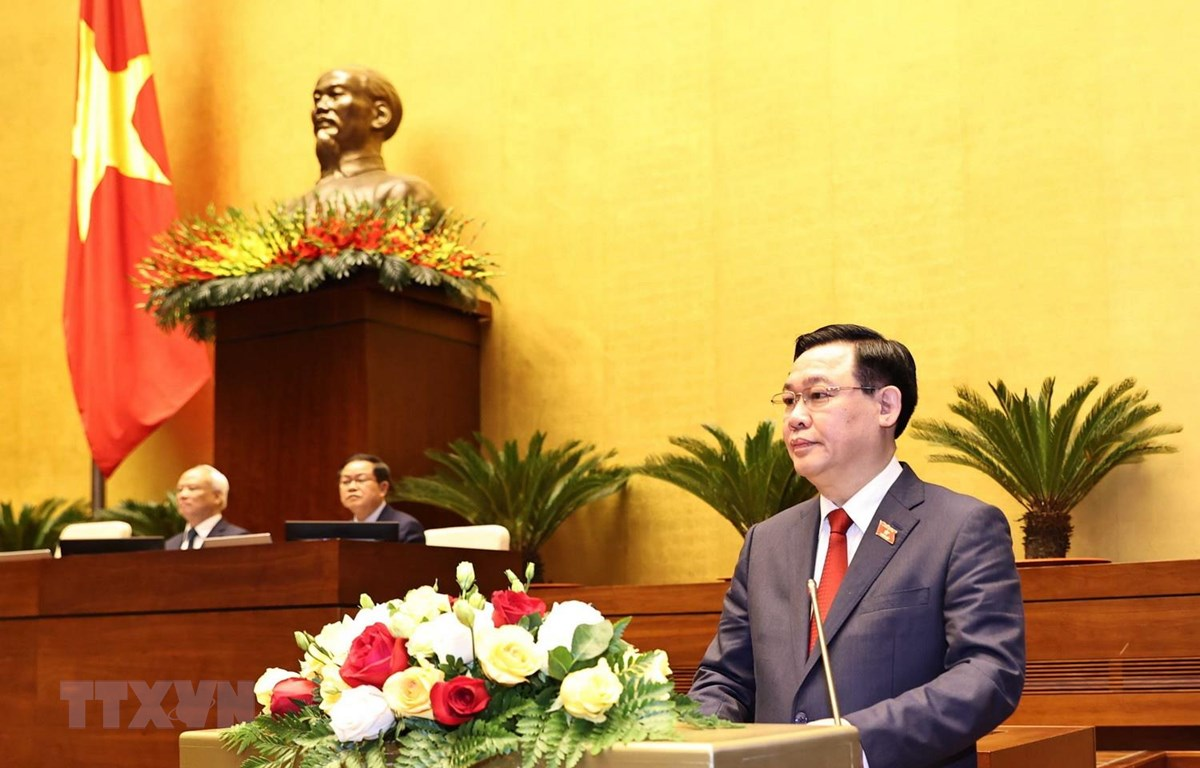 Chủ tịch Quốc hội Vương Đình Huệ phát biểu sau Lễ tuyên thệ nhậm chức. (Ảnh: Trọng Đức/TTXVN)