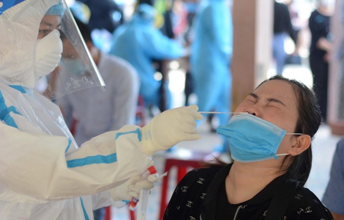 Nhân viên y tế lấy mẫu xét nghiệm COVID-19. (Ảnh: Văn Dũng/TTXVN)