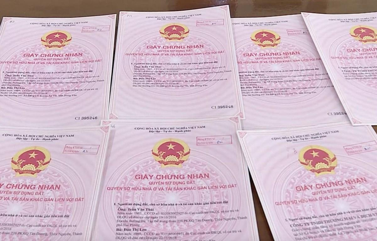 Các giấy chứng nhận quyền sử dụng đất giả đối tượng Vũ Thị Hà dùng để thực hiện thủ tục chuyển nhượng quyền sử dụng đất rồi chiếm đoạt tài sản. (Ảnh: Đinh Tuấn/TTXVN)