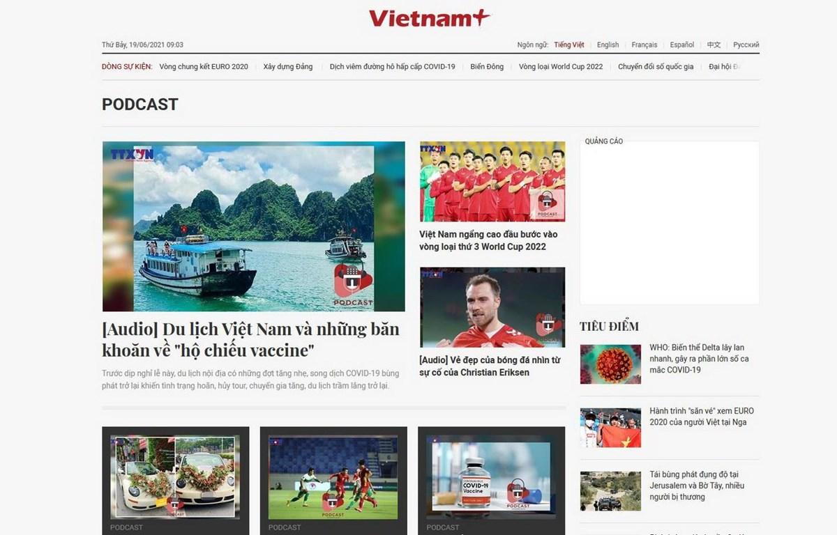 Sản phẩm podcast trên báo điện tử VietnamPlus. (Nguồn: chụp màn hình)
