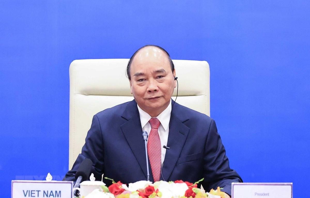 Chủ tịch nước Nguyễn Xuân Phúc phát biểu. (Ảnh: Thống Nhất/TTXVN)