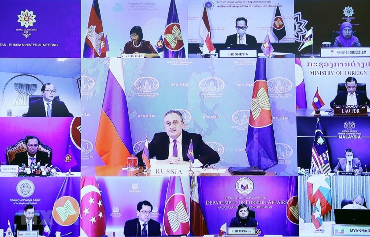 Thứ trưởng Ngoại giao Liên Bang Nga Igor Morgulov phát biểu tại Hội nghị Bộ trưởng Ngoại giao ASEAN-Nga theo hình thức trực tuyến. (Ảnh: Phạm Kiên/TTXVN)