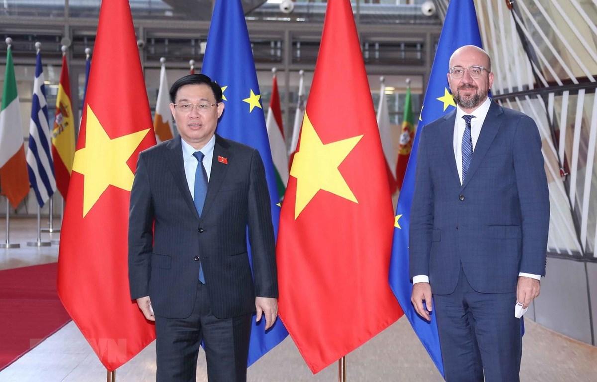 Chủ tịch Quốc hội Vương Đình Huệ và Chủ tịch Hội đồng Châu Âu Charles Michel. (Ảnh: Doãn Tấn/TTXVN)