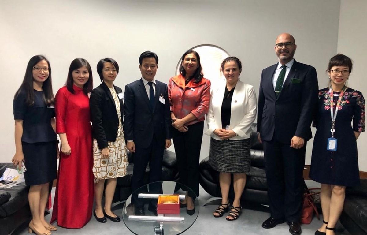 Đoàn đại biểu Việt Nam tham dự Hội nghị 25 năm thực hiện Tuyên bố và Cương lĩnh hành động Bắc Kinh. (Ảnh: PV/Vietnam+)