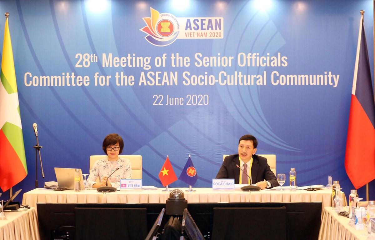 Việt Nam chủ trì tổ chức Hội nghị trực tuyến Quan chức Cấp cao phụ trách Cộng đồng Văn hóa-Xã hội ASEAN. (Ảnh: PV/Vietnam+)