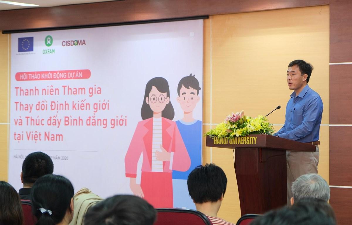 """Khởi động dự án """"Thanh niên tham gia thay đổi định kiến giới và thúc đẩy bình đẳng giới tại Việt Nam"""". (Ảnh: PV/Vietnam+)"""