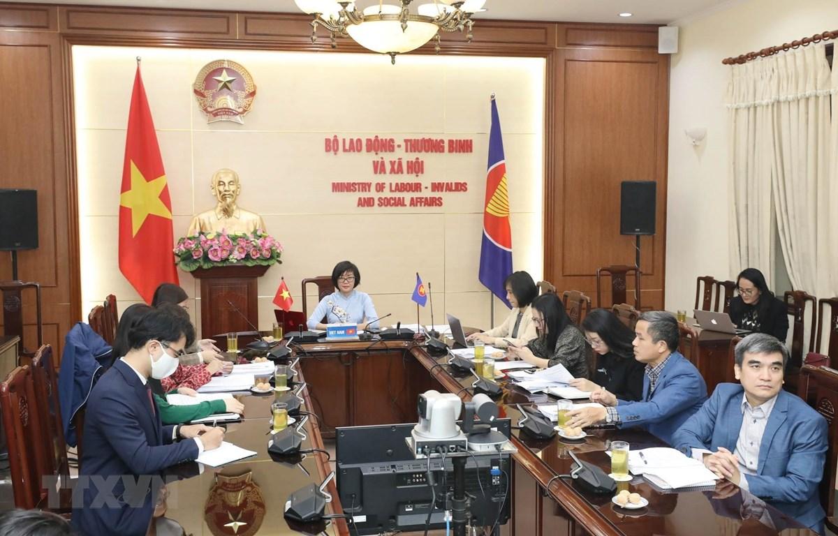 Hội nghị Quan chức cao cấp ASEAN về lao động (SLOM) diễn ra theo hình thức trực tuyến do Indonesia là nước chủ nhà. (Ảnh: Anh Tuấn/TTXVN)