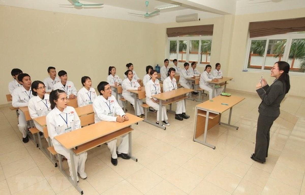 Các ứng viên điều dưỡng Việt Nam học tiếng Nhật trước khi sang nước bạn làm việc. (Ảnh: PV/Vietnam+)