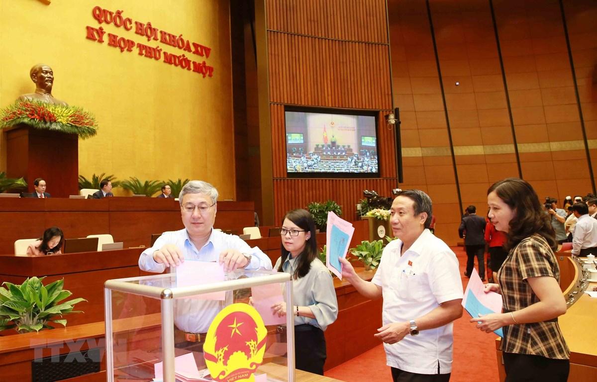 Các đại biểu Quốc hội bỏ phiếu bổ nhiệm một số thành viên của Chính phủ. (Ảnh: Trọng Đức/TTXVN)