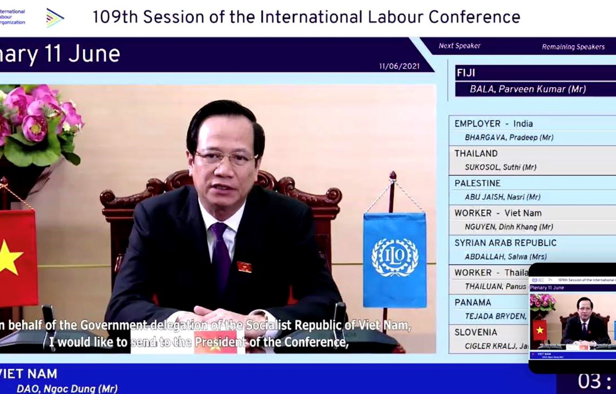 Bộ trưởng Bộ Lao động-Thương binh và Xã hội Đào Ngọc Dung phát biểu tại ILC-109. (Ảnh: PV/Vietnam+)