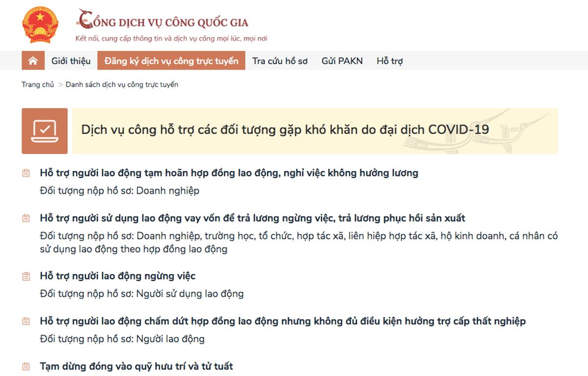Các dịch vụ công do Bảo hiểm xã hội Việt Nam cung cấp trên dịch vụ công hỗ trợ các đối tượng gặp khó khăn do đại dịch COVID-19. (Ảnh: PV/Vietnam+)