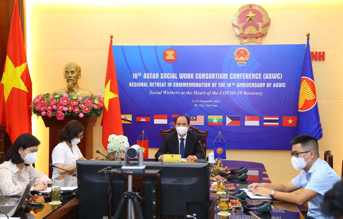 Bộ Lao động-Thương binh và Xã hội tổ chức Hội nghị Hiệp hội Nghề Công tác xã hội ASEAN lần thứ 10 theo hình thức trực tuyến. (Ảnh: PV/Vietnam+)