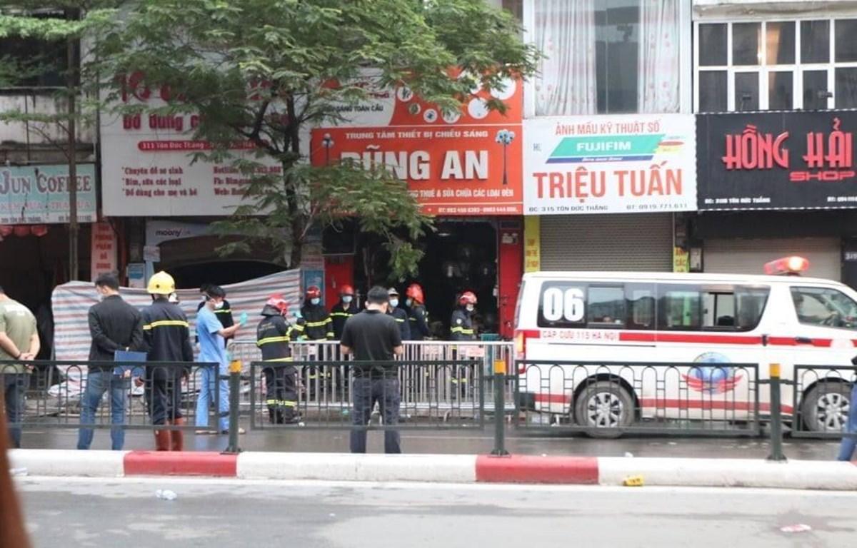 Hiện trường vụ hoả hoạn sáng ngày 4/4. (Ảnh: CTV/Vietnam+)