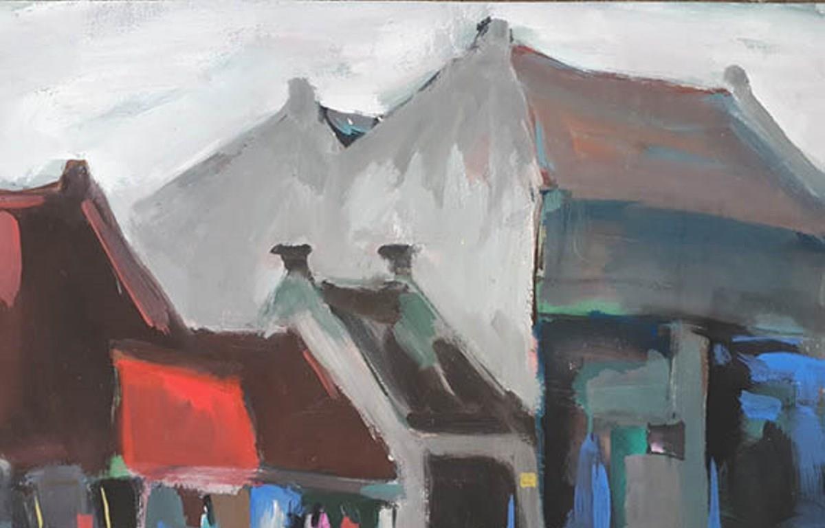 'Một góc phố Hải Phòng' qua góc nhìn của họa sỹ Nguyễn Quốc Thái. (Ảnh: BTC)