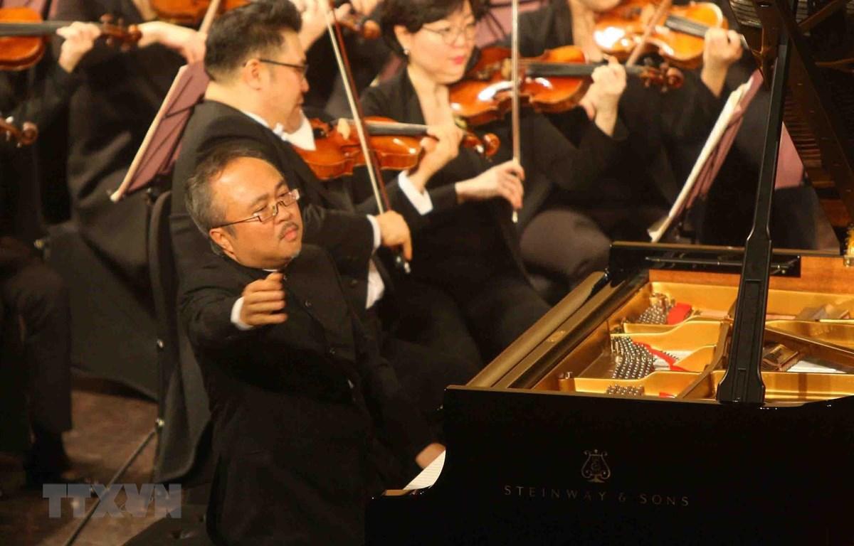 Nghệ sỹ nhân dân Đặng Thái Sơn trình diễn trong một chương trình hòa nhạc ở Hà Nội dịp đầu năm 2019. (Ảnh: TTXVN)