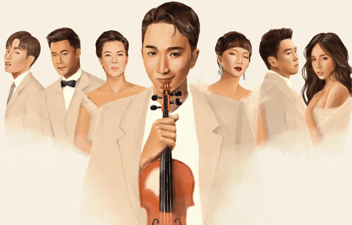 """Nghệ sỹ violin Hoàng Rob và những khách mời của dự án """"Trò chuyện."""" (Ảnh: Nghệ sỹ cung cấp)"""