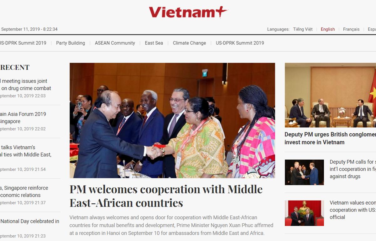 Giao diện mới của phiên bản tiếng Anh tại địa chỉ betaen.vietnamplus.vn.