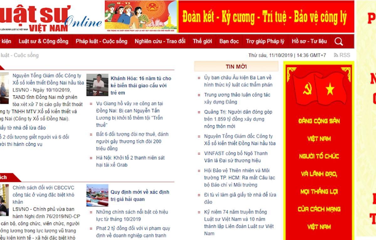 Tạp chí điện tử Luật sư Việt Nam đã có hành vi vi phạm hành chính trong lĩnh vực báo chí, xuất bản. (Ảnh chụp màn hình)