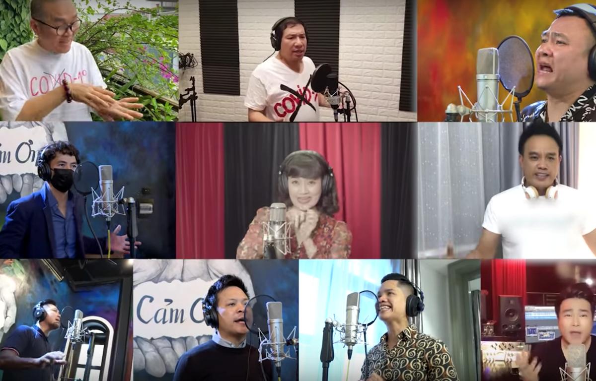 """Các nghệ sỹ tham gia MV """"Việt Nam ơi, cùng nhau đồng lòng."""" (Ảnh: PV/Vietnam+)"""