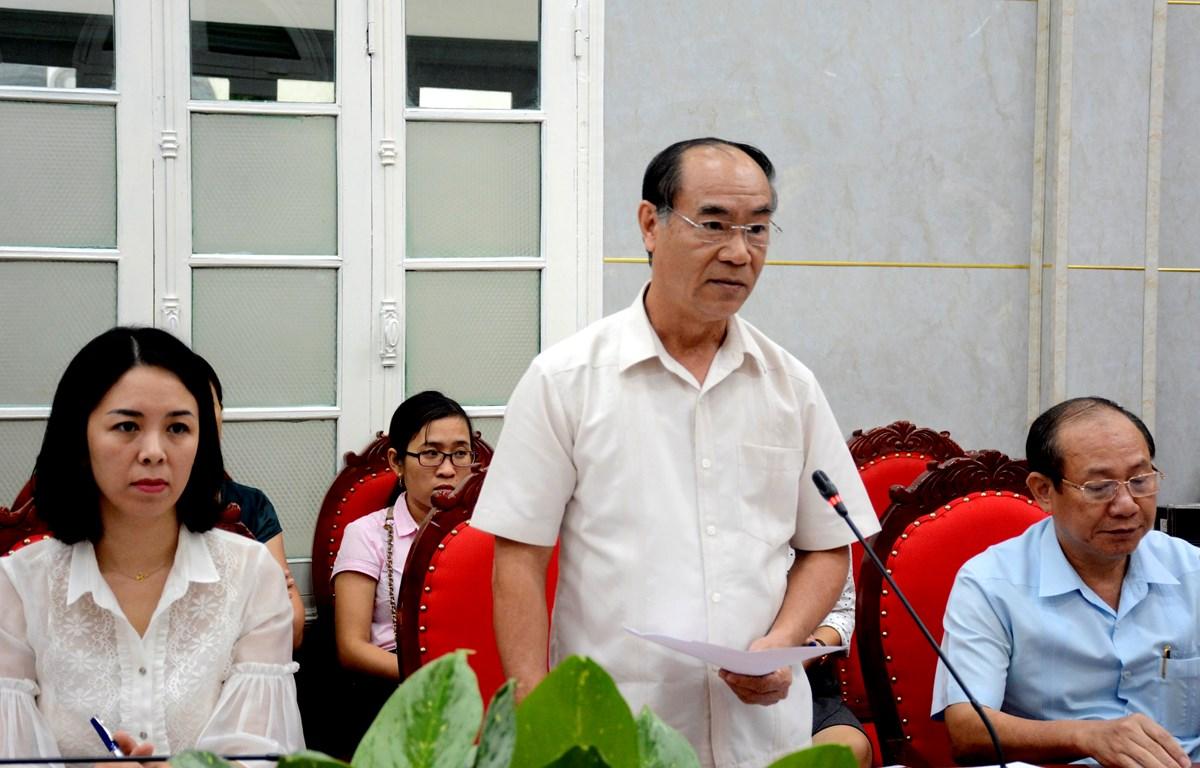 Chánh Thanh tra Bộ Giáo dục và Đào tạo Nguyễn Huy Bằng tại buổi công bố kết luận thanh tra. (Ảnh: PV/Vietnam+)