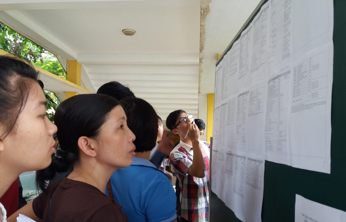 Thí sinh và phụ huynh tìm hiểu thông tin tuyển sinh đại học. (Ảnh: PM/Vietnam+)