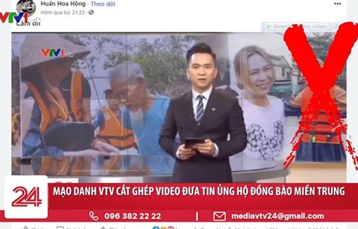 VTV tuyên bố tài khoản Huấn Hoa Hồng đưa tin giả liên quan đến lũ lụt miền Trung. (Ảnh: VTV)